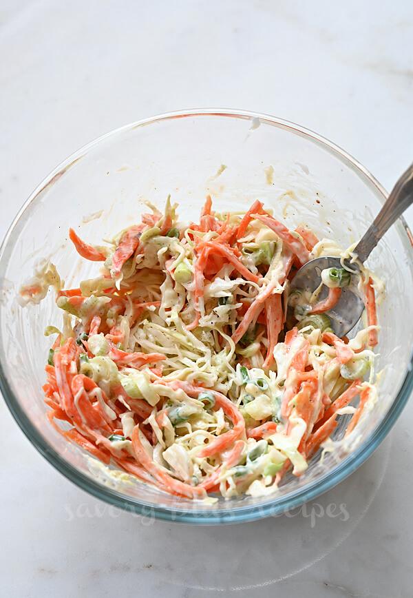 cabbage coleslaw for the bang bang shrimp tacos