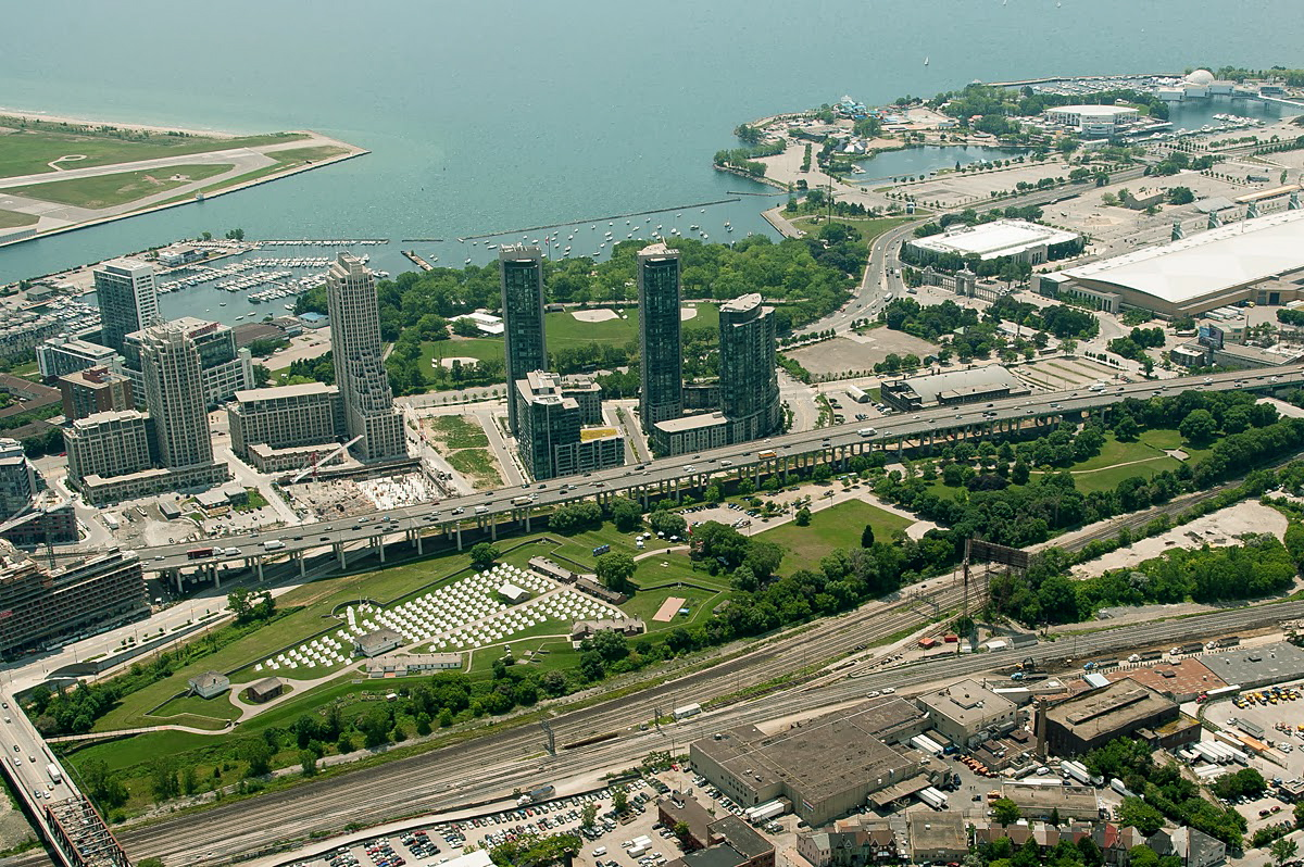Aerial photo of The Encampment at Fort York, for Luminato 2012