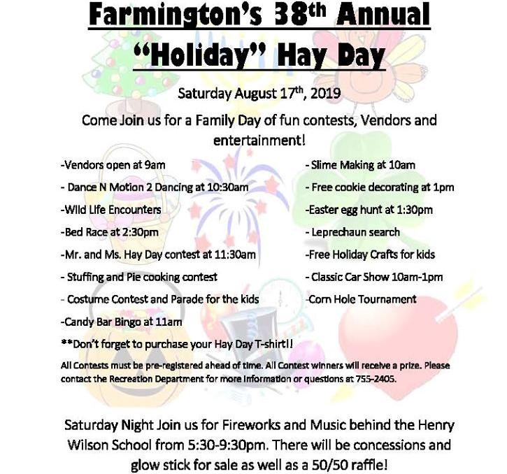 FarmingtonNH Hay Day 2019 Saturday, August 17th - Farmington