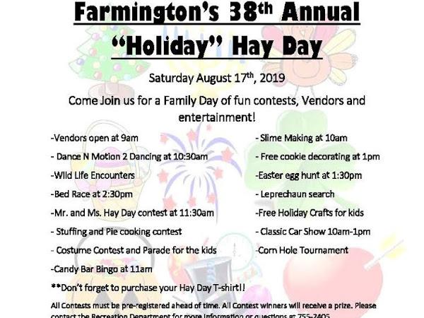 #FarmingtonNH Hay Day 2019 Saturday, August 17th