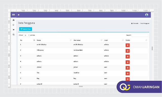 Menu Data Pengguna Aplikasi Penjualan Berbasis Web Sederhana dengan PHP