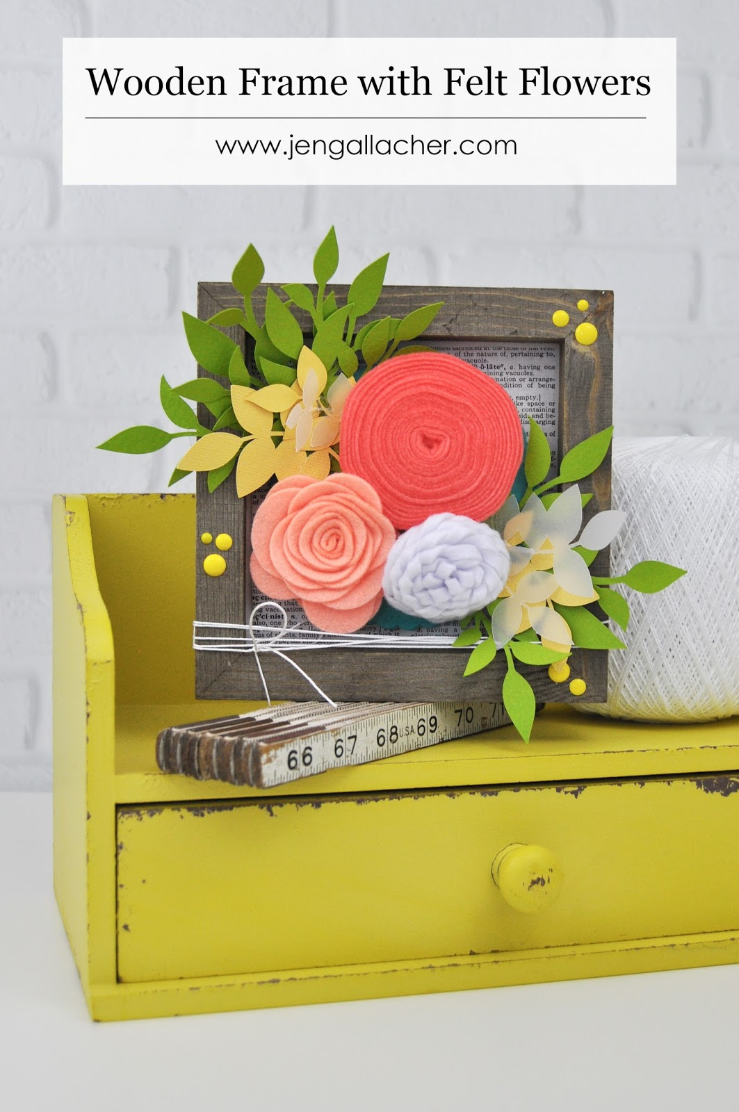 "How to add felt flowers to a wooden frame. Jillibean Soup ""Mix the Media"" frame and felt flowers. Wooden frame and felt flower tutorial with Jen Gallacher. #jillibeansoup #woodenframediy #feltflowers #jengallacher #papercrafts"