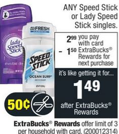 FREE Lady Speed Stick CVS Deal 3-15-3-21