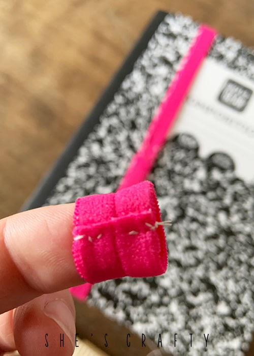 DIY Pen Holder for Journal - sew a loop in ribbon elastic to hold pen