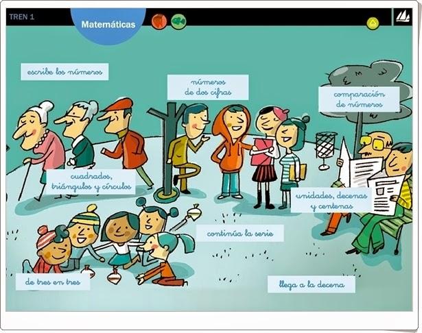 """""""Actividades interactivas de Matemáticas de 1º de Primaria"""" (Editorial La Galera. Proyecto Tren 1)"""