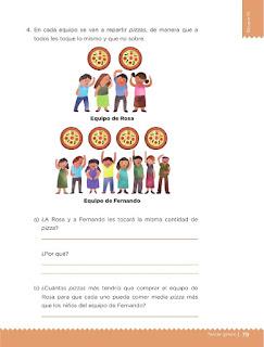 Apoyo Primaria Desafíos matemáticos 3ro. Grado Bloque III Lección 34 ¿A quién le tocó más?
