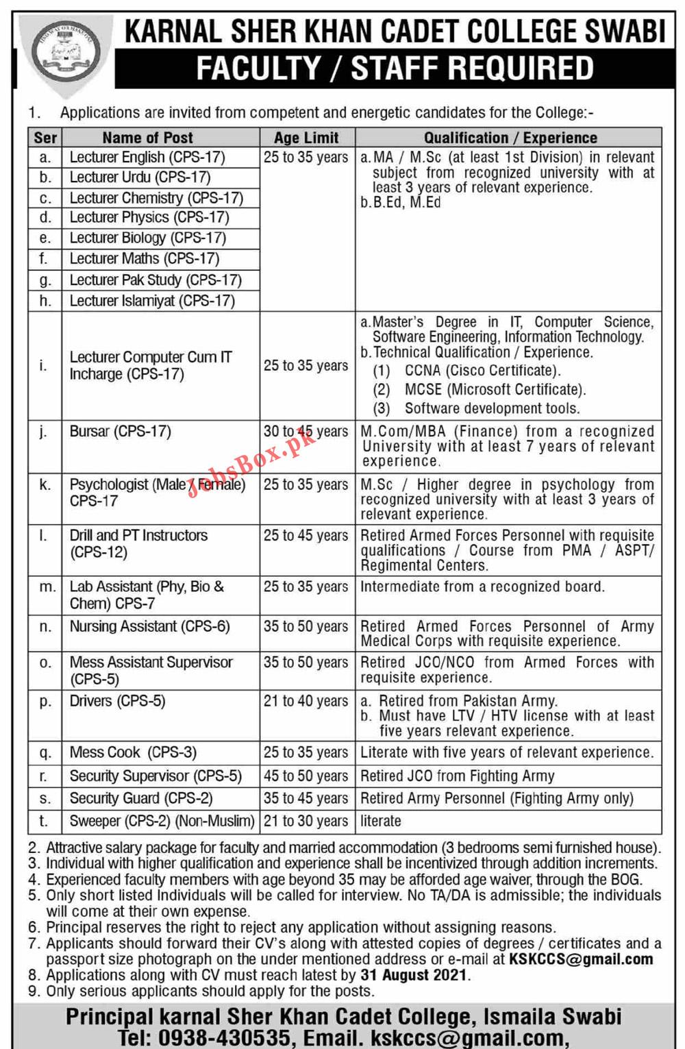 KSKCCS@gmail.com - Karnal Sher Khan Cadet College Swabi Jobs 2021 in Pakistan