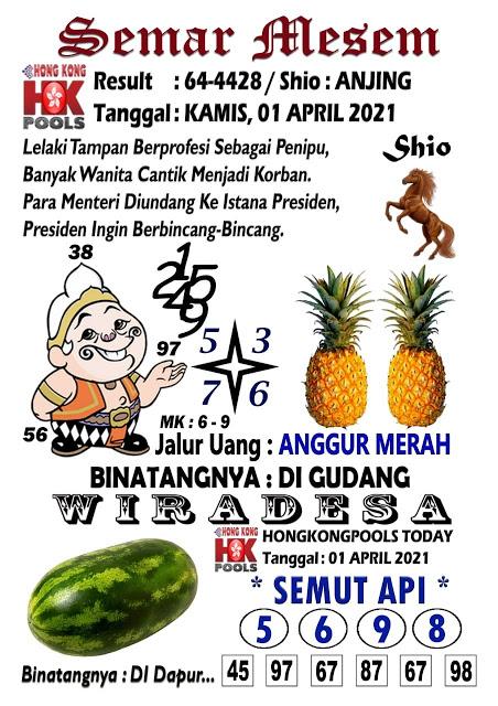 Syair Semar Mesem HK Kamis 01 April 2021