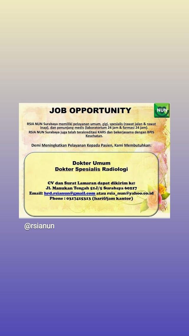 Loker Dokter RSIA NUN  Surabaya, Jawa Timur