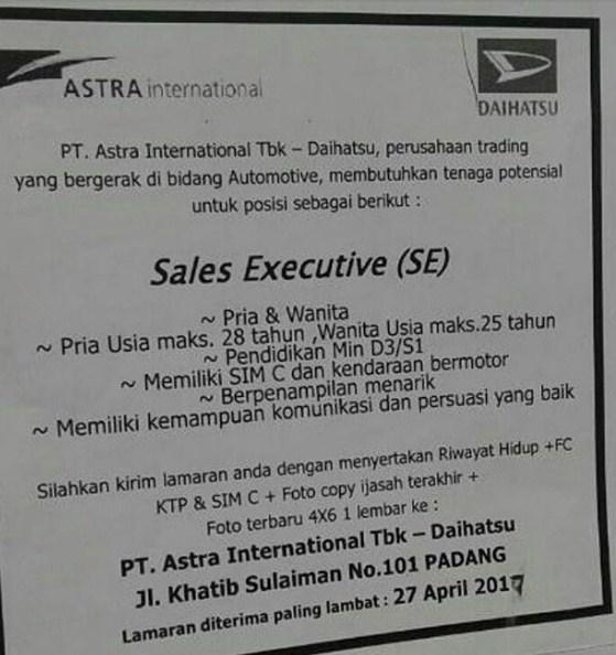 Lowongan Kerja Padang: Astra Internasional Daihatsu April 2017