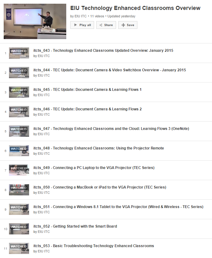 Updated Technology Enhanced Classrooms YouTube Learning List Now