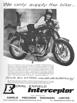 Advertisement with model posed on top of Royal Enfield Interceptor.