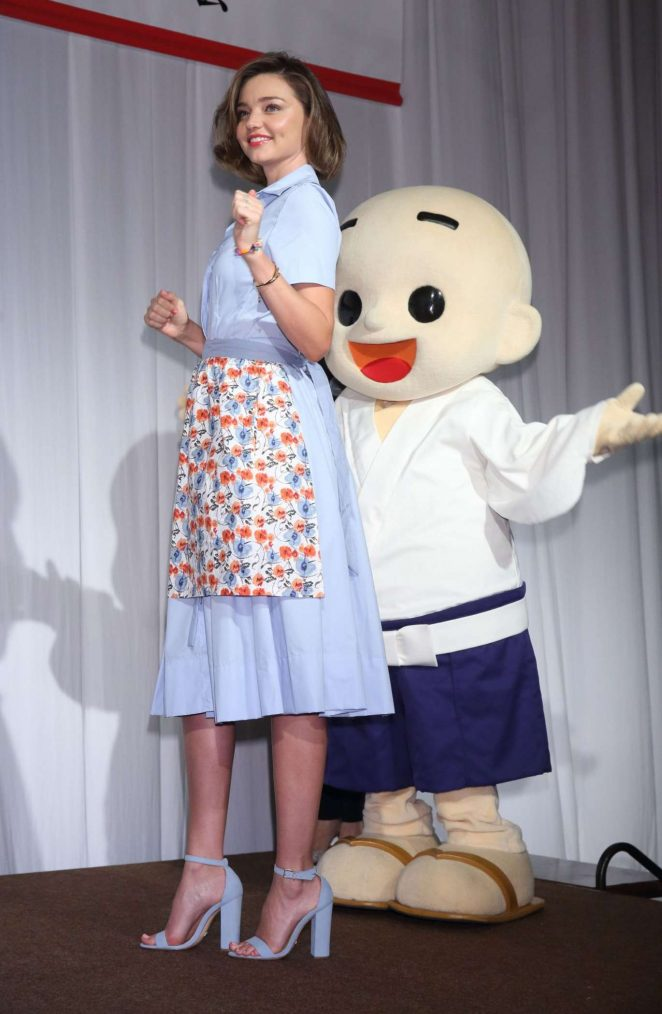 Miranda Kerr wears fifties inspired dress to promotional event in Tokyo