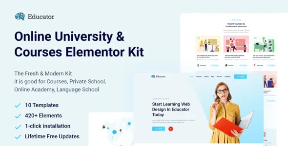 Best Online University & Courses Elementor Template Kit