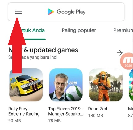Menu Playstore