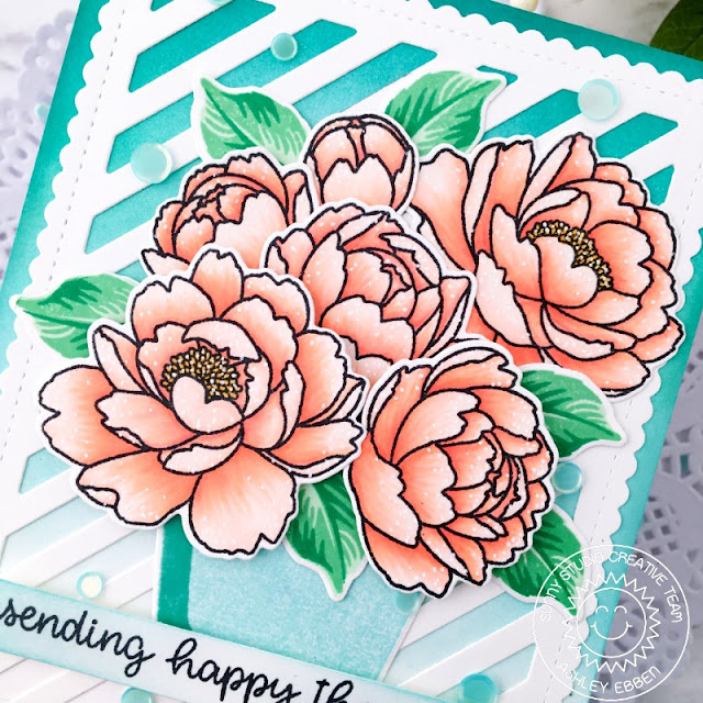 Sunny Studio Stamps: Potted Rose Pink Peonies Frilly Frame Dies Happy Thoughts Everyday Card by Ashley Ebben