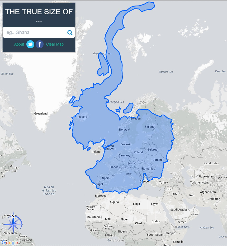 Antarctica compared to Europe