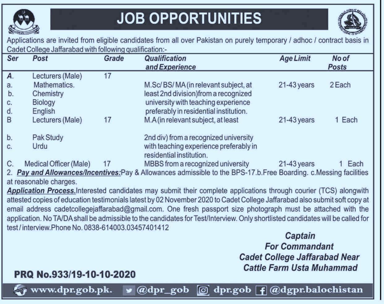 Cadet College Jaffarabad Jobs  Advertisement For Govt Lecturer Vacancies in Pakistan Jobs 2021