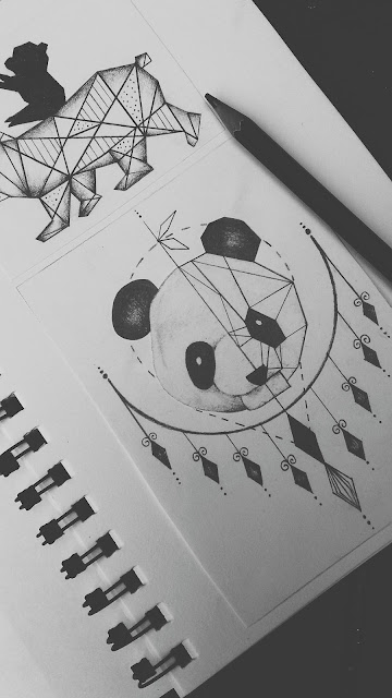 geometrical,panda,tattoo,design, panda tattoo