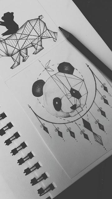 geometrical,panda,tattoo,design, panda tattoo