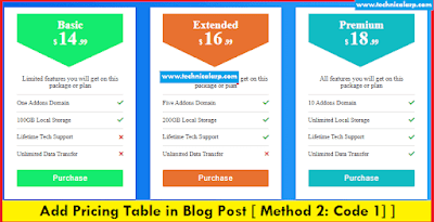 Add pricing table in blogger post