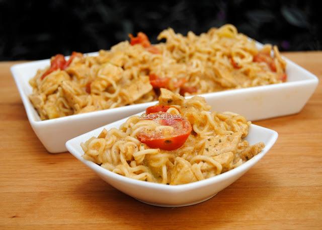 Fideos Chinos con Pollo, Calabacines y Crema de Soja