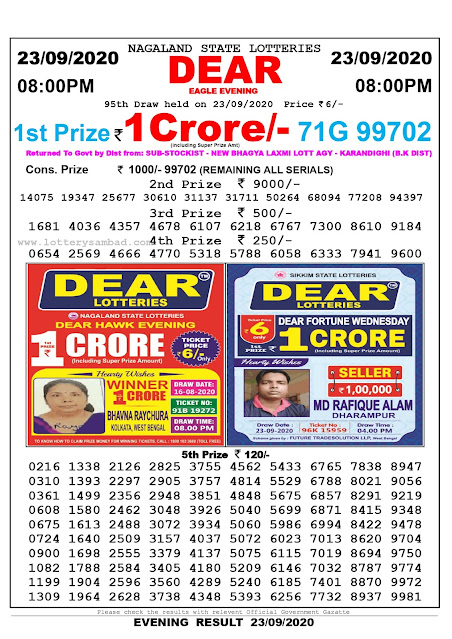 Nagaland State Lottery Sambad 23-09-2020 Today Result 8 PM