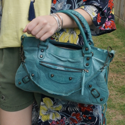 olive shorts and Balenciaga first bag in 2006 Blue India | awayfromtheblue
