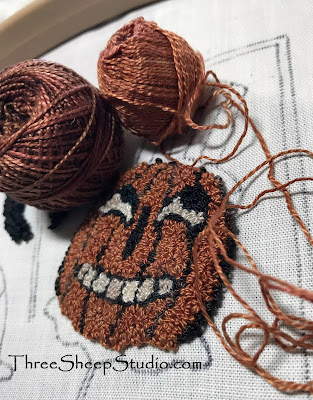 'Halloween Folly' punch needle design by Rose Clay at ThreeSheepStudio.com in the 'Studio'