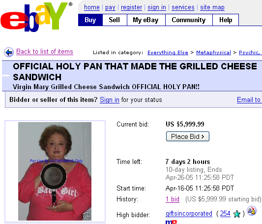 Diana Duyser selling the pan that made the Virgin Mary Grilled Cheese on eBay. It makes good toast. marchmatron.com