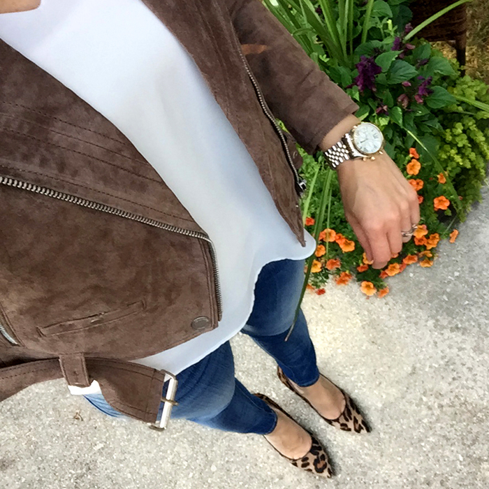 suede moto jacket, nordstrom, michael kors watch