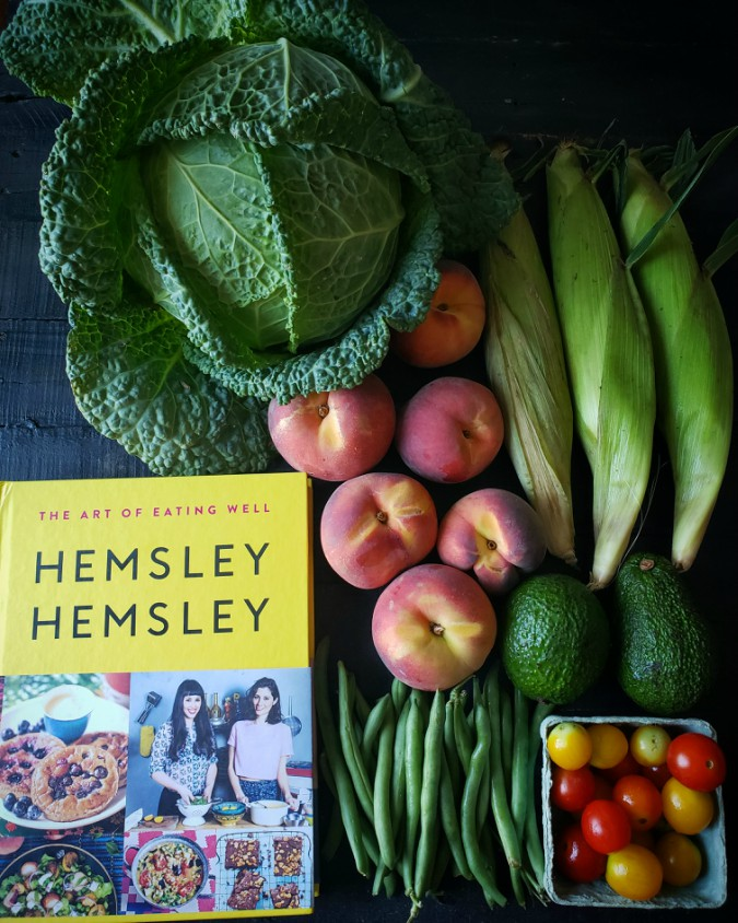 cabbage, peaches, cookbook, hemsley hemsley, produce, corn, green beans
