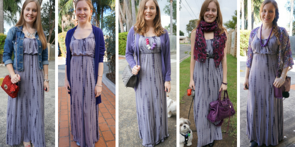layering a tie dye maxi dress 5 outfit ideas with light layers | awayfromtheblue
