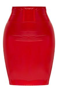 Shape red high waist vinyl mini skirt
