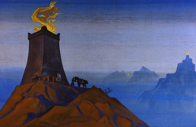 Николай Рерих - Цветы Тимура (Огни победы). 1931