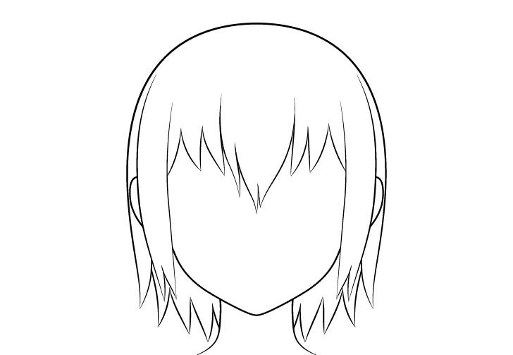 Anime menggambar garis rambut basah