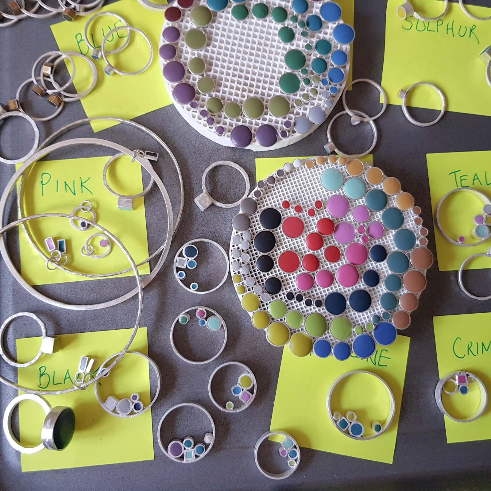 Dotty about colour: Clare experiments and test runs her designs before finalising them