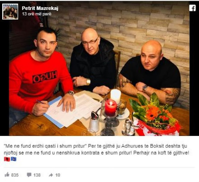 Petri Mazrekaj's long-awaited match with the son of Arkan has been confirmed