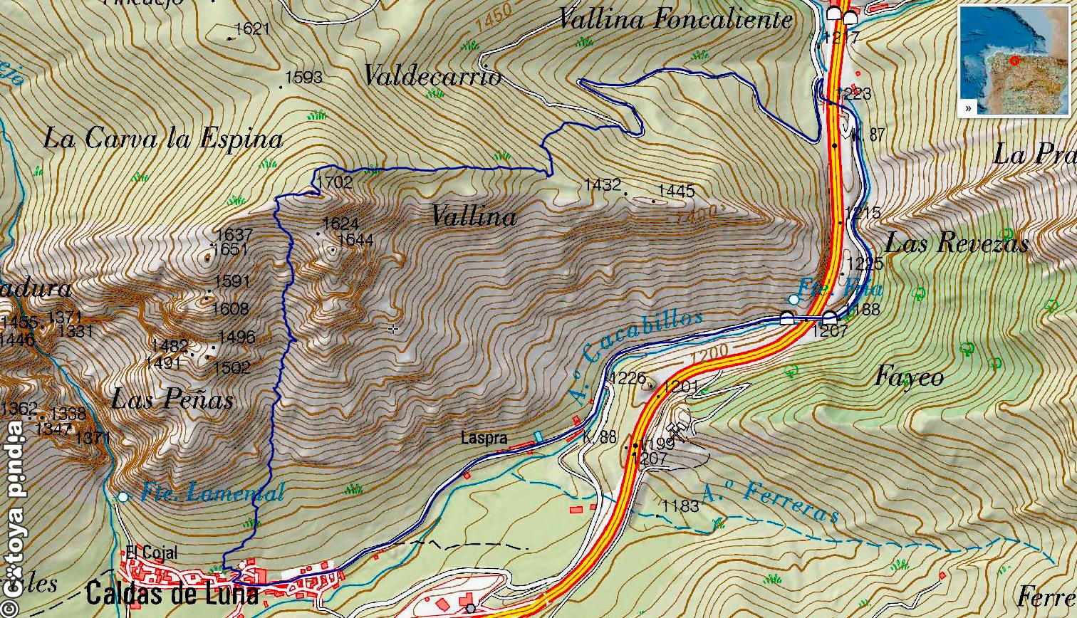 Mapa IGN de la ruta a la Carva la Espina desde Caldas de Luna en el Parque Natural Valles de Babia y Luna