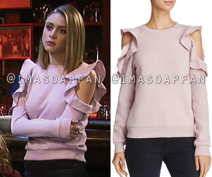 8b119ac755986 Kiki Jerome s Ruffed Pink Cold Shoulder Sweatshirt - General Hospital