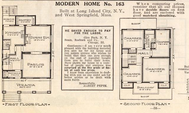 floorplan Sears No 163 1914 catalog