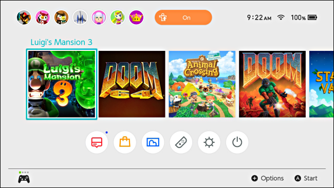 اللعبة عالية مع المؤشر على شاشة Nintendo Switch الرئيسية