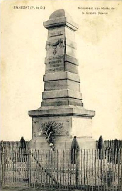 CPA monuments aux Morts du Puy-de-Dôme, Ennezat