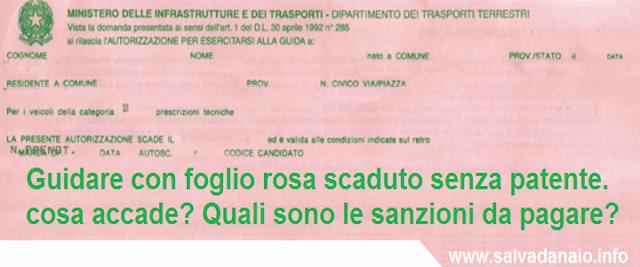 foglio rosa scaduto senza patente