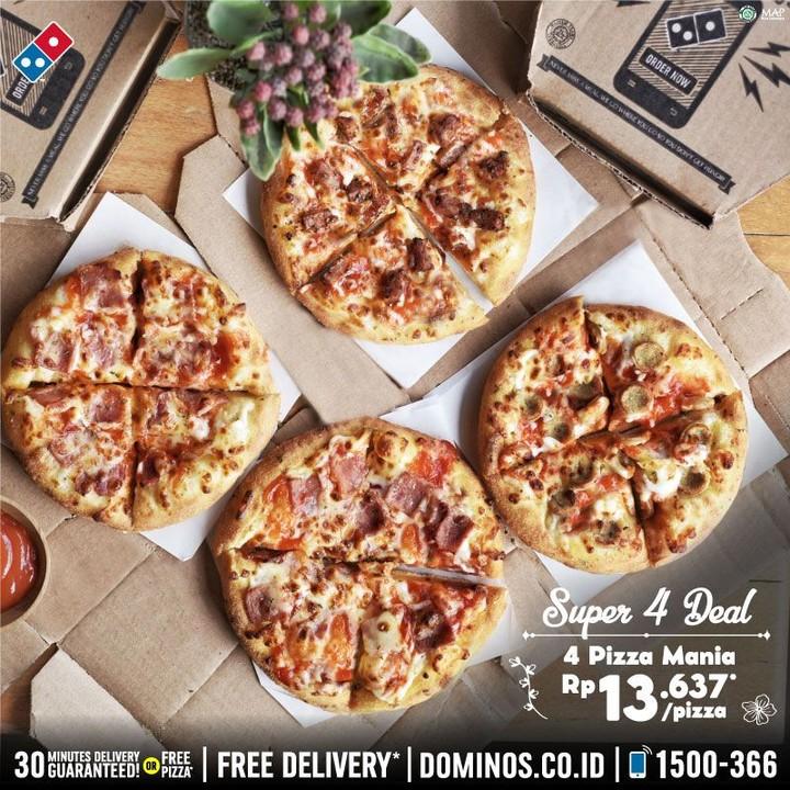 Promo Domino S Pizza Super 4 Deal 4 Pizza Mania Rp 13 676 Pizza Scanharga