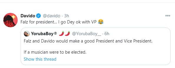 'Falz For Presidency, I'll Be VP' - Davido Surprises Fans With New Tweet