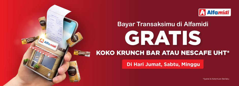 Tokopedia - Bayar di Alfamidi Gratis Koko Krunch Bar atau Nescafe UHT