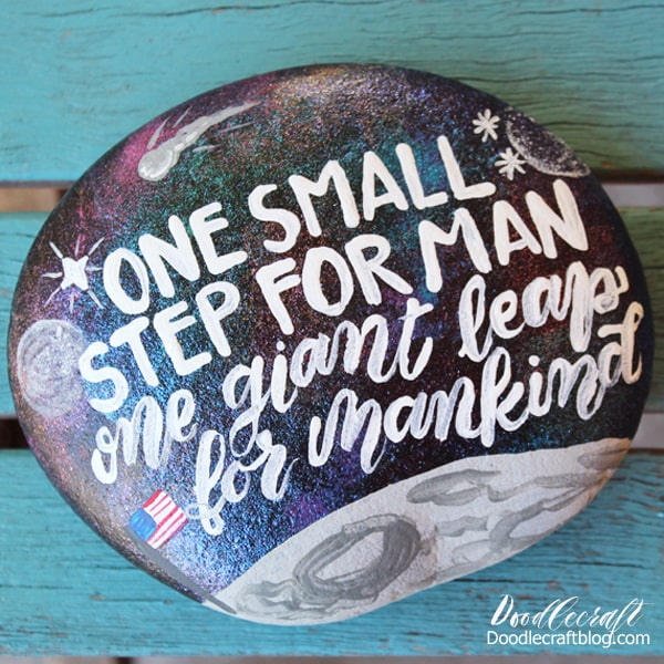 one small step for man moon rock painted stone project