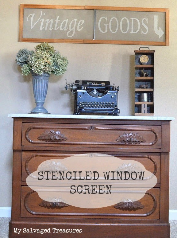 stenciled window screen MySalvagedTreasures.com DIY