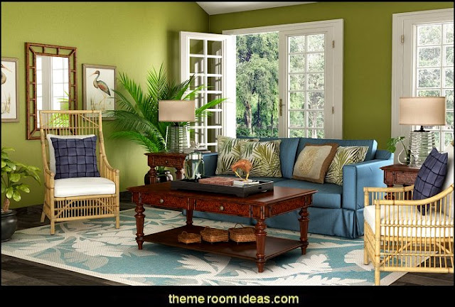Tropical beach style bedroom decorating ideas - beach bedrooms - surfer theme rooms - tropical theme Hawaiian style decorating - raffia valance window ideas - tropical bedding - tropical wall murals - palm trees decor - tropical bedroom decorating ideas - tropical furniture - tropical baby nursery decorating